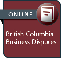 BC Business Disputes--ONLINE ACCESS